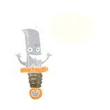 τρελλός χαρακτήρας μαχαιριών κινούμενων σχεδίων με τη σκεπτόμενη φυσαλίδα Στοκ φωτογραφία με δικαίωμα ελεύθερης χρήσης