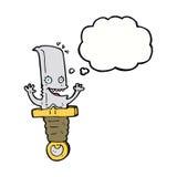 τρελλός χαρακτήρας μαχαιριών κινούμενων σχεδίων με τη σκεπτόμενη φυσαλίδα Στοκ Εικόνα