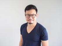 Τρελλό ασιατικό άτομο με eyeglasses Στοκ Φωτογραφία