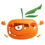 Τρελλό tangerine κινούμενων σχεδίων πορτοκαλί άλμα χαρακτήρα φρούτων Στοκ εικόνες με δικαίωμα ελεύθερης χρήσης
