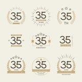 Τριάντα πέντε έτη εορτασμού επετείου logotype 35η συλλογή λογότυπων επετείου Στοκ Εικόνες