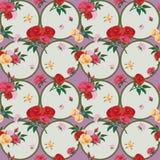 Τριαντάφυλλα και άνευ ραφής σχέδιο κύκλων στοκ φωτογραφίες