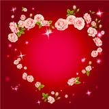 τριαντάφυλλα καρδιών πλαισίων Στοκ Φωτογραφίες