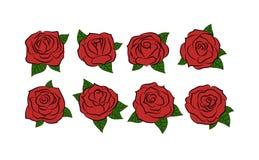 τριαντάφυλλα Συρμένα χέρι τριαντάφυλλα καθορισμένα επίσης corel σύρετε το διάνυσμα απεικόνισης Στοκ φωτογραφία με δικαίωμα ελεύθερης χρήσης