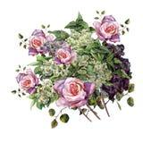 Τριαντάφυλλα Watercolor με τη ζωηρόχρωμη πασχαλιά σε ένα άσπρο υπόβαθρο Σχέδιο για το gesign Στοκ εικόνες με δικαίωμα ελεύθερης χρήσης