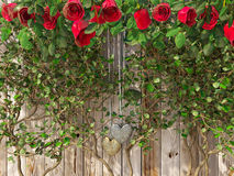 Τριαντάφυλλα και καρδιές στον ξύλινο πίνακα, υπόβαθρο διακοπών ημέρας βαλεντίνων στοκ εικόνες