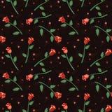 Τριαντάφυλλα και μικρό διανυσματικό άνευ ραφής σχέδιο λουλουδιών Σχέδιο εγγράφου τυλίγματος διανυσματική απεικόνιση