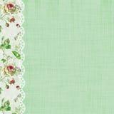 Τριαντάφυλλα και πράσινη σελίδα λευκώματος αποκομμάτων δαντελλών Στοκ Εικόνες