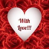 Τριαντάφυλλα πλαισίων, ημέρα του βαλεντίνου, με την αγάπη, ευχετήρια κάρτα Στοκ Εικόνες