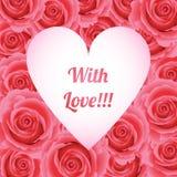 Τριαντάφυλλα πλαισίων, ημέρα του βαλεντίνου, με την αγάπη, ευχετήρια κάρτα Στοκ φωτογραφία με δικαίωμα ελεύθερης χρήσης