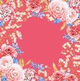 Τριαντάφυλλα, σύνθεση πλαισίων watercolor λουλουδιών Hydrangea στο κόκκινο Στοκ φωτογραφίες με δικαίωμα ελεύθερης χρήσης