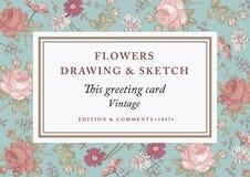 Τριαντάφυλλα, chamomile επίσης corel σύρετε το διάνυσμα απεικόνισης Όμορφα μπαρόκ λουλούδια Στοκ Εικόνες