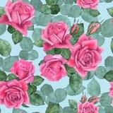 Τριαντάφυλλα 7 floral πρότυπο άνευ ραφής Στοκ Φωτογραφίες