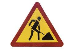 Τριγωνικά κόκκινα οδικά έργα ` οδικών σημαδιών ` συνόρων κίτρινα Στοκ εικόνα με δικαίωμα ελεύθερης χρήσης