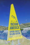 Τριγωνική κίτρινη ινδική διαφήμιση στις νοτιοδυτικές Ηνωμένες Πολιτείες Στοκ Εικόνα