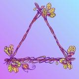 Τριγωνικό εκλεκτής ποιότητας πλαίσιο των δρύινων κλάδων με τα φύλλα Διακοσμητικό στοιχείο για την εργασία σχεδίου στο ύφος boho διανυσματική απεικόνιση