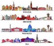 Τριγωνικό σχέδιο Στοκχόλμη, Άμστερνταμ, Ουάσιγκτον, Όσλο απεικόνιση αποθεμάτων