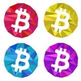 Τριγωνικό σύνολο λογότυπων Bitcoin Κόκκινη κίτρινη μπλε πορφύρα Διανυσματική απεικόνιση