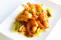 Τριζάτες γαρίδες με το πιπέρι και το κρεμμύδι Στοκ φωτογραφίες με δικαίωμα ελεύθερης χρήσης