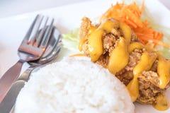 Τριζάτο ρύζι σάλτσας ασβέστη κοτόπουλου Στοκ Εικόνες