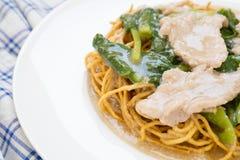 Τριζάτο τηγανισμένο νουντλς με το χοιρινό κρέας και κατσαρό λάχανο που ενυδατώνεται στο ζωμό Στοκ Φωτογραφία