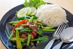 τριζάτο χοιρινό κρέας με το Kale και το ρύζι Στοκ Εικόνα