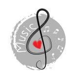 Τριπλή μουσική clef Απεικόνιση σχεδίων χεριών Στοκ Εικόνες