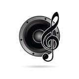 Τριπλό clef με το διάνυσμα εικονιδίων ομιλητών Στοκ Εικόνα