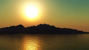 τρισδιάστατα βουνά στο ηλιοβασίλεμα Στοκ Φωτογραφία