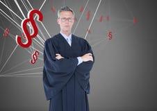 τρισδιάστατα εικονίδια και δικαστής συμβόλων τμημάτων Στοκ Εικόνες