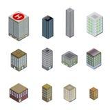τρισδιάστατα εικονίδια πόλεων οικοδόμησης Στοκ εικόνες με δικαίωμα ελεύθερης χρήσης