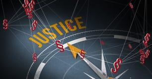 τρισδιάστατα εικονίδια συμβόλων πυξίδων και τμημάτων κειμένων δικαιοσύνης Στοκ Εικόνα