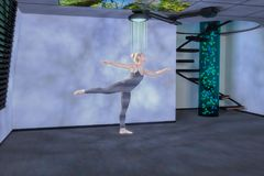 Τρισδιάστατα μικτά μέσα ολογραμμάτων χορευτών Στοκ Φωτογραφία