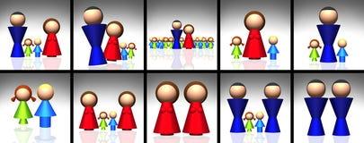τρισδιάστατα οικογενειακά εικονίδια Στοκ Εικόνα