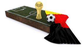 τρισδιάστατα σφαίρα και τρόπαιο ποδοσφαίρου στο μπάλωμα χλόης με τη σημαία Στοκ Φωτογραφίες