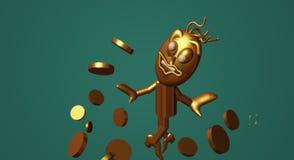 τρισδιάστατα χρήματα ατόμων απόδοσης χρυσή πλεονεξία ελεύθερη απεικόνιση δικαιώματος