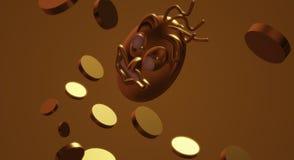 τρισδιάστατα χρήματα γυναικών απόδοσης χρυσή πλεονεξία ελεύθερη απεικόνιση δικαιώματος
