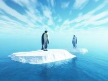 τρισδιάστατα penguins στον επιπλέοντα πάγο ελεύθερη απεικόνιση δικαιώματος