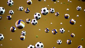 τρισδιάστατες αθλητικές σφαίρες ζωτικότητας απόδοσης που πέφτουν από το υπόβαθρο ουρανού απεικόνιση αποθεμάτων