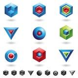 τρισδιάστατες γεωμετρικές μορφές διανυσματική απεικόνιση