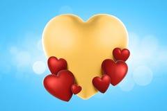 τρισδιάστατες καρδιές ημέρας βαλεντίνων απόδοσης στο υπόβαθρο στοκ φωτογραφίες