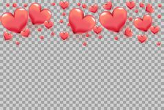 τρισδιάστατες καρδιές ως πλαίσιο στο διαφανές υπόβαθρο για τη ευχετήρια κάρτα ημέρας του βαλεντίνου, αφίσα διακοπών, έμβλημα, πρό στοκ εικόνα