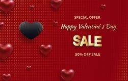 τρισδιάστατες μεταλλικές χρυσές και κόκκινες καρδιές σε ένα φωτεινό κόκκινο υπόβαθρο Διακοσμητική έννοια αγάπης για την ημέρα ή τ ελεύθερη απεικόνιση δικαιώματος