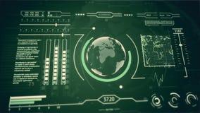 τρισδιάστατη ανίχνευση επίδειξης διεπαφών HUD του πλανήτη Γη πράσινου απόθεμα βίντεο