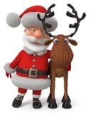 τρισδιάστατη απεικόνιση Άγιος Βασίλης με τα ελάφια Στοκ Φωτογραφία