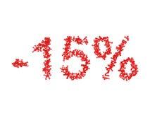 τρισδιάστατη απεικόνιση 15 δεκαπέντε τοις εκατό - έκπτωση Στοκ εικόνα με δικαίωμα ελεύθερης χρήσης