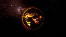 τρισδιάστατη απεικόνιση ενός αστεριού με τις ροές λάβας σε μια επιφάνεια στο διάστημα στοκ φωτογραφίες