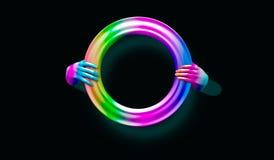 τρισδιάστατη απεικόνιση ενός κενού πλαισίου χεριών νέου που απομονώνεται στο μαύρο, αφηρημένο υπόβαθρο μόδας, επίδειξη καταστημάτ στοκ εικόνες