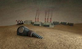 τρισδιάστατη απεικόνιση Μια παλαιά μάσκα αερίου βρίσκεται στην έρημο ανάμεσα στη βιομηχανία ελεύθερη απεικόνιση δικαιώματος