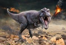 Τρισδιάστατη απεικόνιση σκηνής τυραννοσαύρων rex στοκ εικόνες